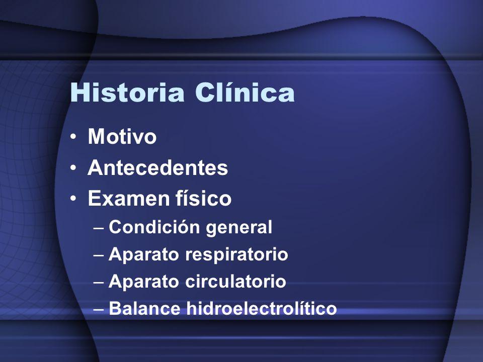 Historia Clínica Motivo Antecedentes Examen físico Condición general