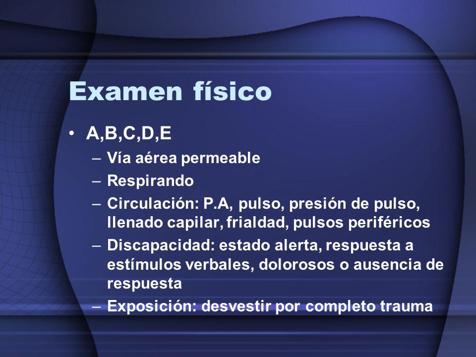 Examen físico A,B,C,D,E Vía aérea permeable Respirando