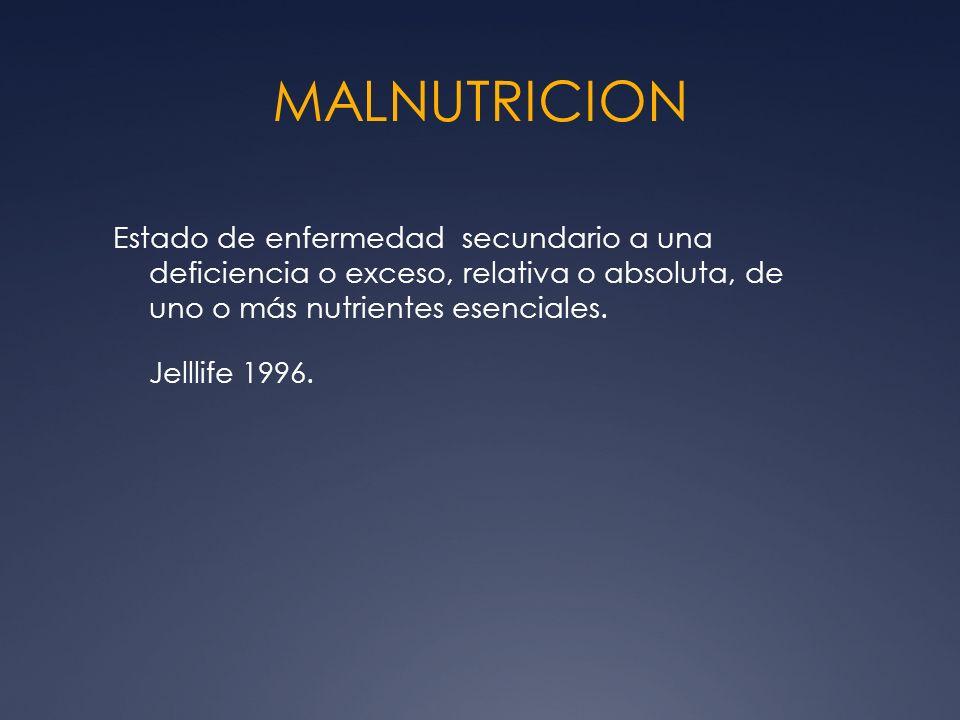 MALNUTRICION Estado de enfermedad secundario a una deficiencia o exceso, relativa o absoluta, de uno o más nutrientes esenciales.