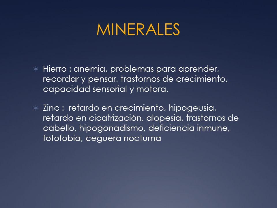 MINERALES Hierro : anemia, problemas para aprender, recordar y pensar, trastornos de crecimiento, capacidad sensorial y motora.