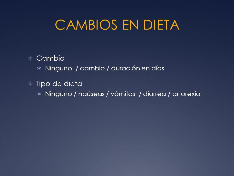CAMBIOS EN DIETA Cambio Tipo de dieta
