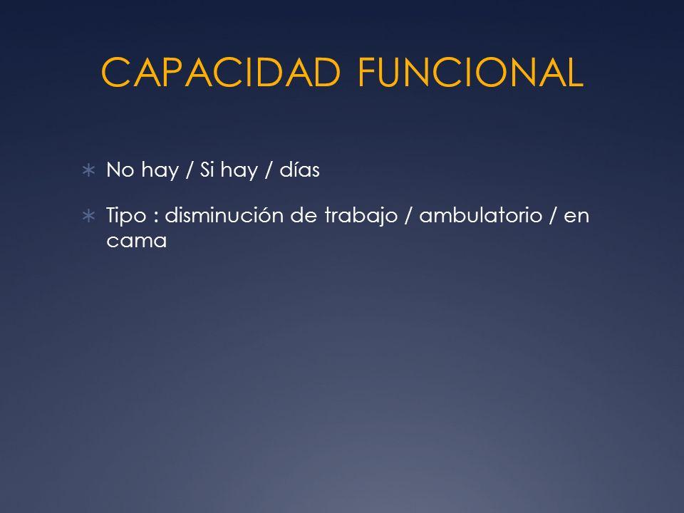 CAPACIDAD FUNCIONAL No hay / Si hay / días