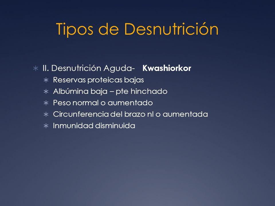 Tipos de Desnutrición II. Desnutrición Aguda- Kwashiorkor