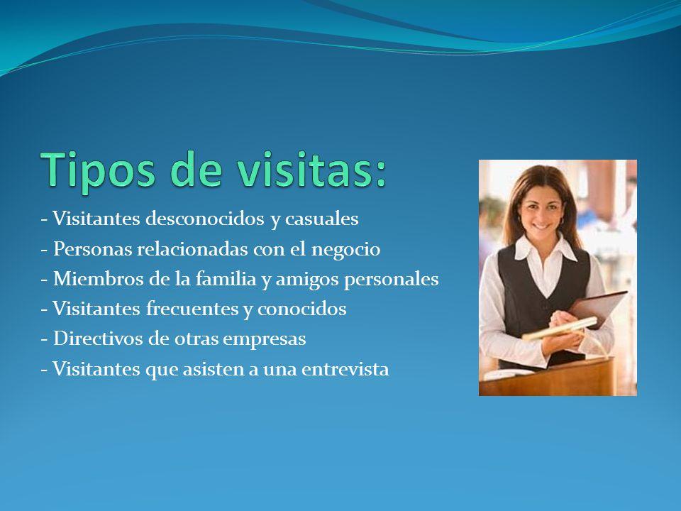 Tipos de visitas: - Visitantes desconocidos y casuales