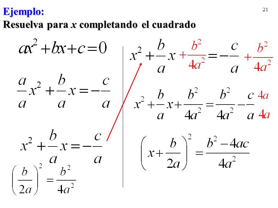 Ejemplo: Resuelva para x completando el cuadrado