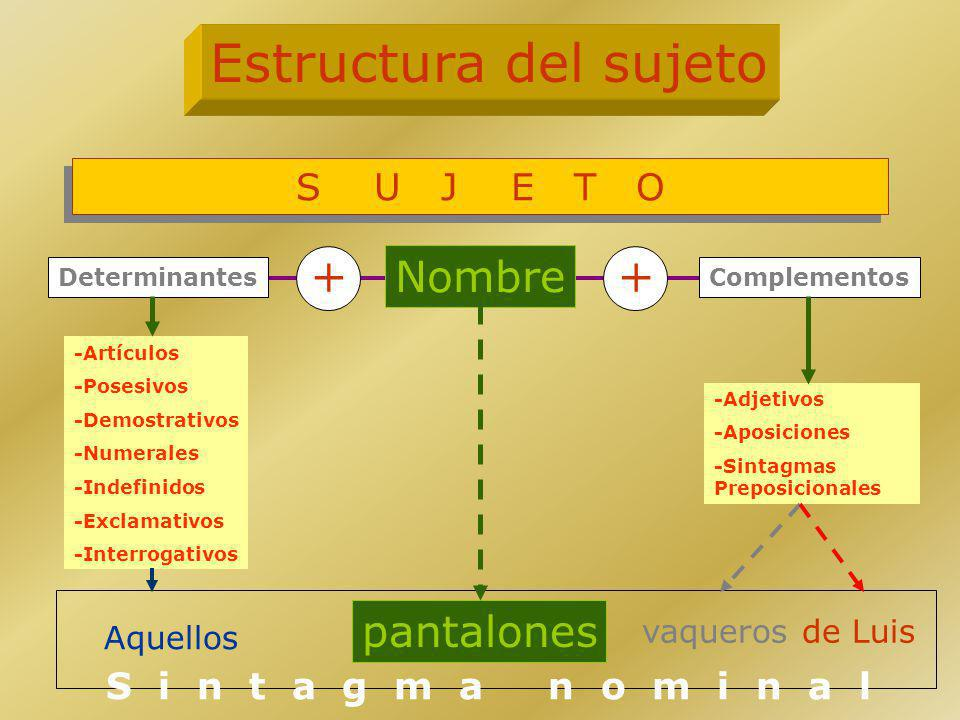 Estructura del sujeto + + Nombre pantalones S U J E T O