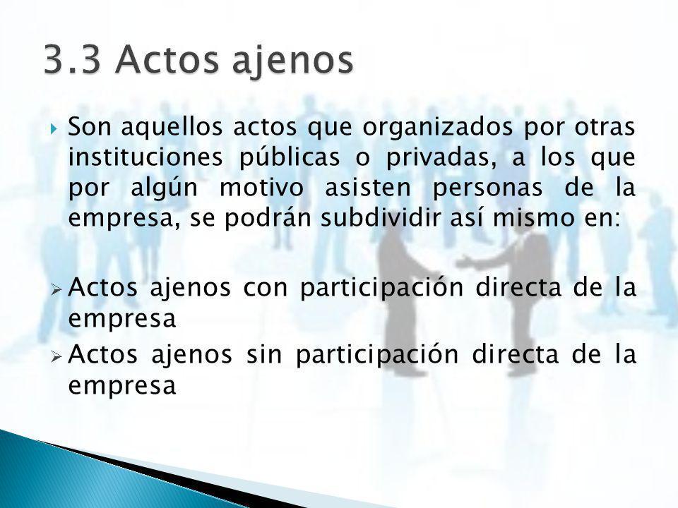 3.3 Actos ajenos Actos ajenos con participación directa de la empresa
