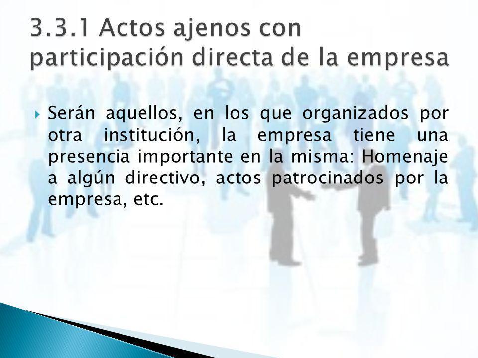 3.3.1 Actos ajenos con participación directa de la empresa