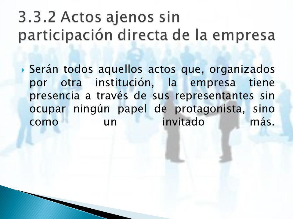 3.3.2 Actos ajenos sin participación directa de la empresa