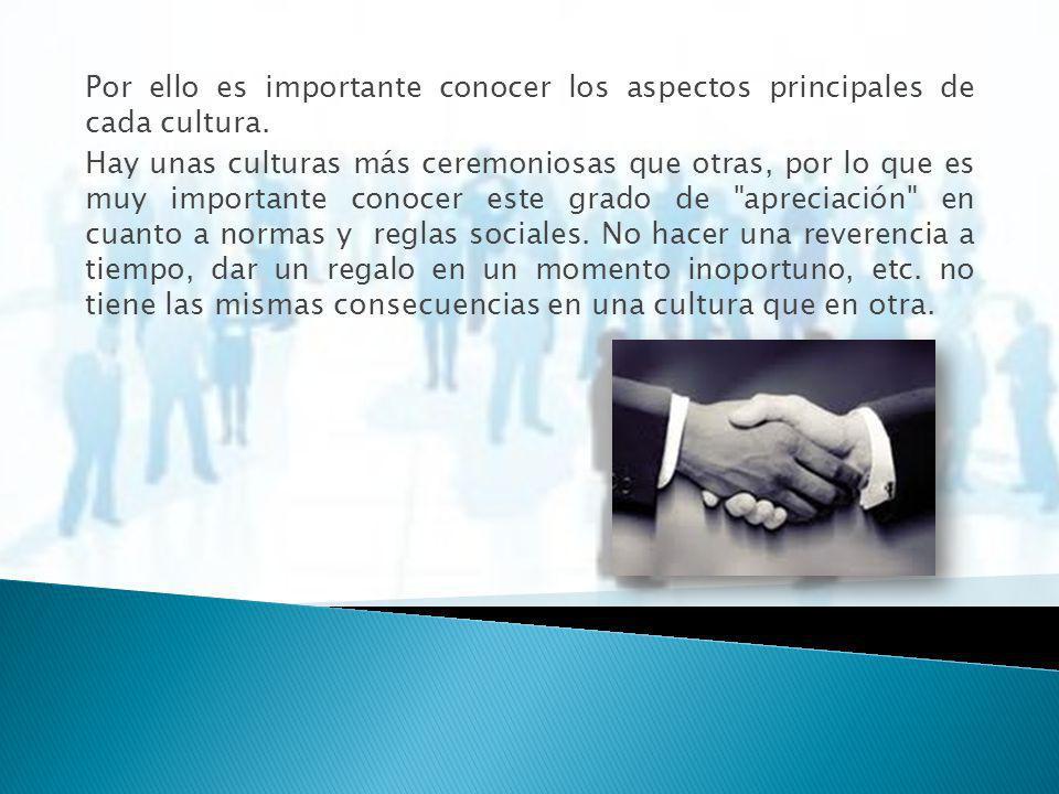 Por ello es importante conocer los aspectos principales de cada cultura.