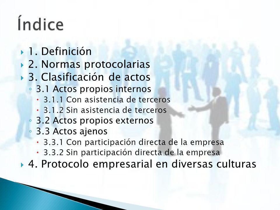 Índice 1. Definición 2. Normas protocolarias 3. Clasificación de actos