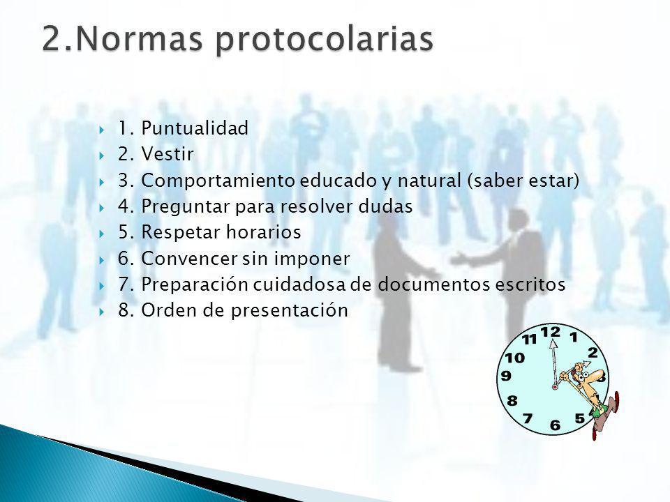 2.Normas protocolarias 1. Puntualidad 2. Vestir