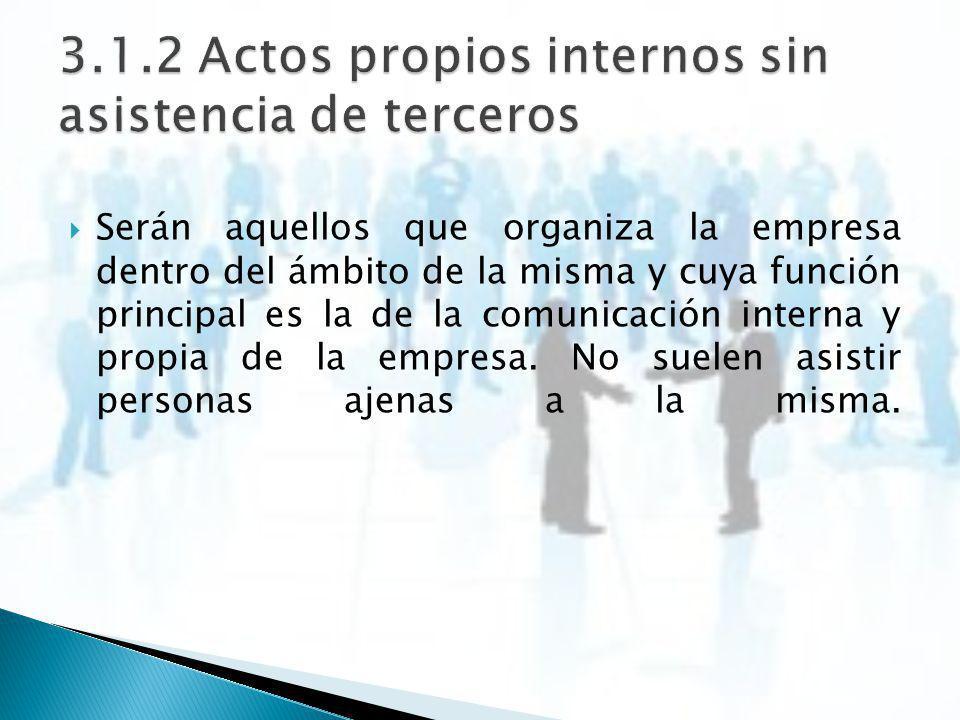 3.1.2 Actos propios internos sin asistencia de terceros