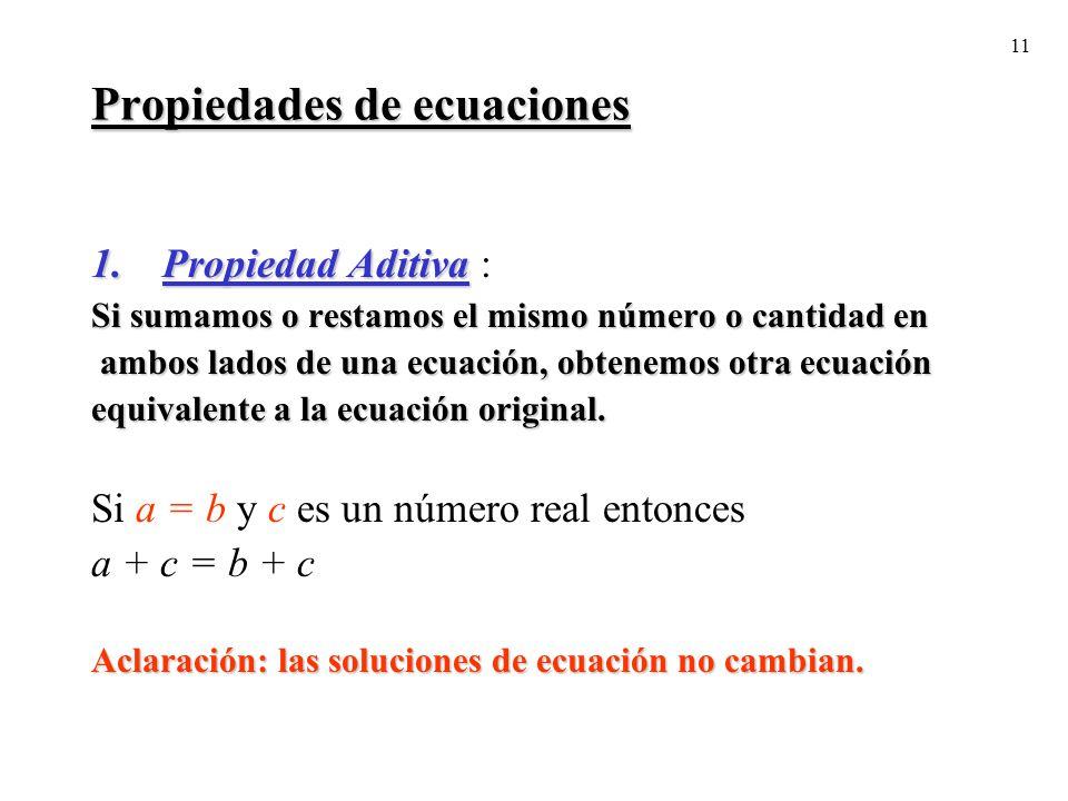 Propiedades de ecuaciones
