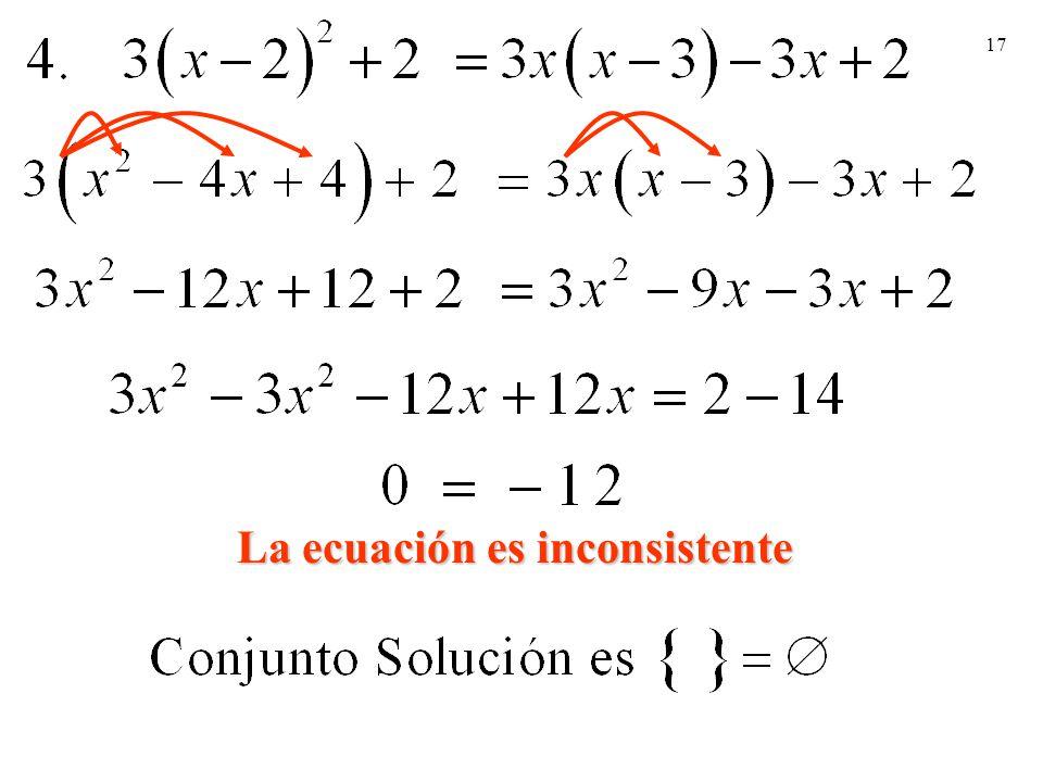 La ecuación es inconsistente