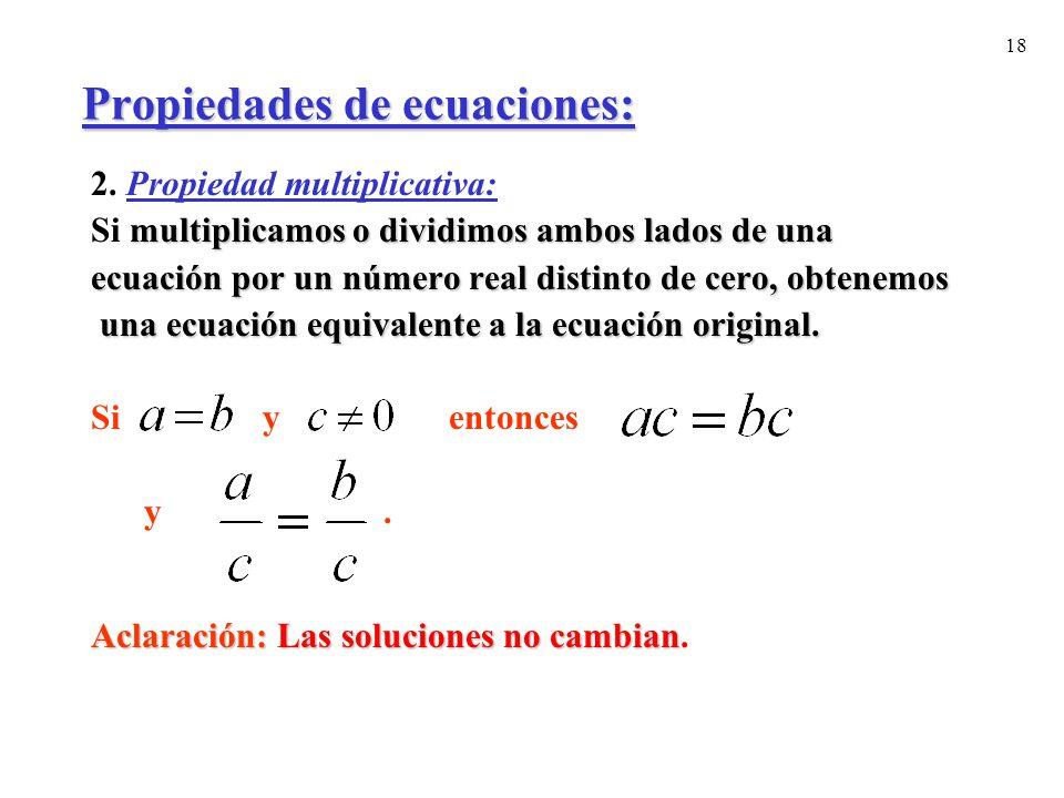 Propiedades de ecuaciones: