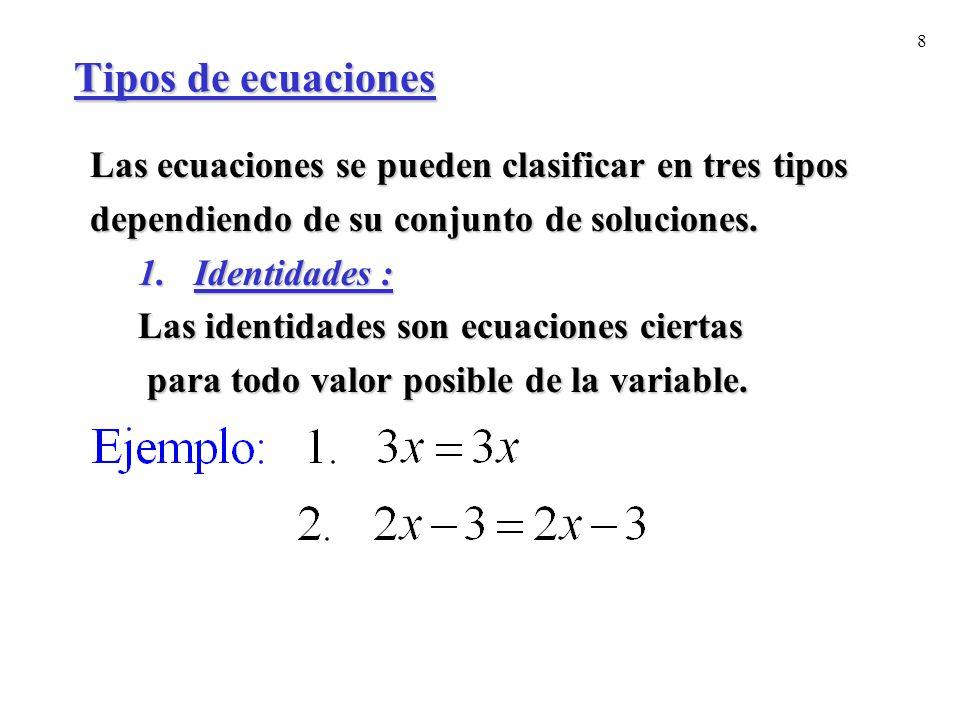 Tipos de ecuaciones Las ecuaciones se pueden clasificar en tres tipos