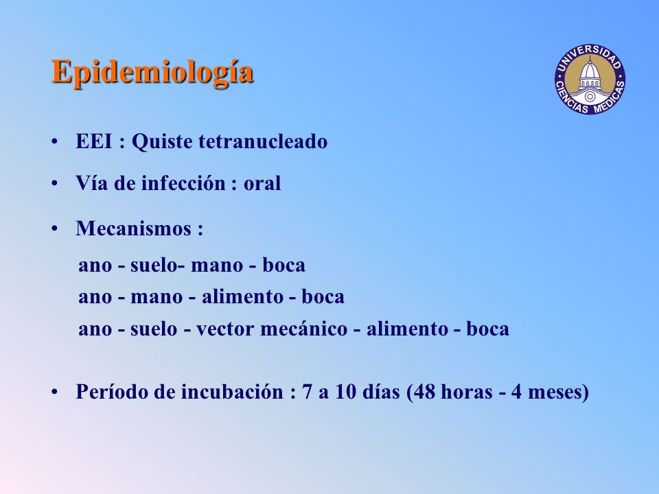 Epidemiología EEI : Quiste tetranucleado Vía de infección : oral