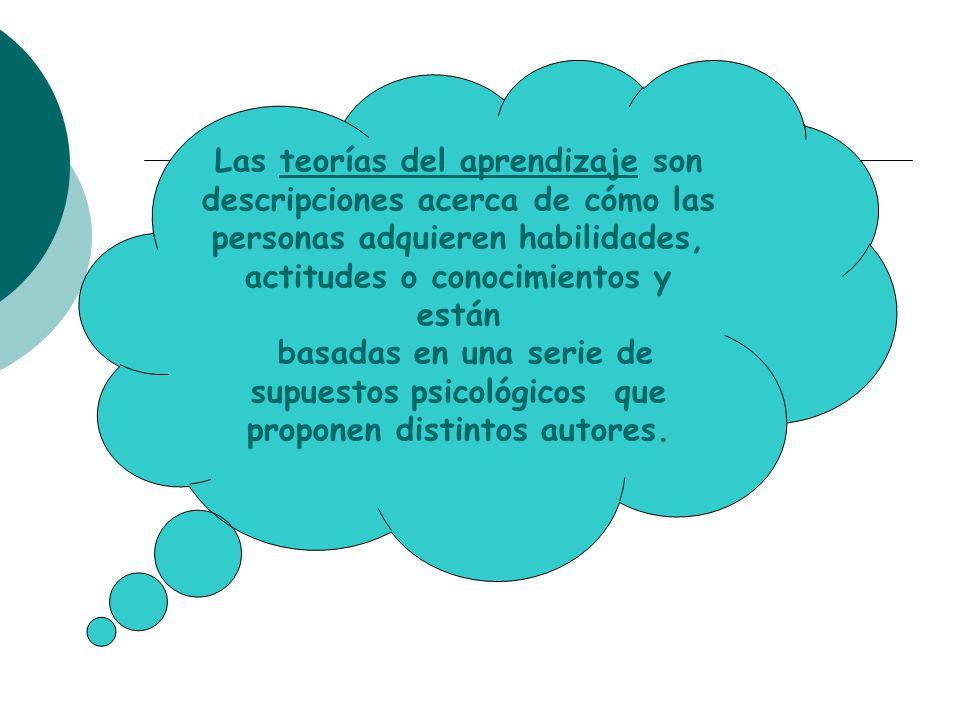 Las teorías del aprendizaje son descripciones acerca de cómo las personas adquieren habilidades, actitudes o conocimientos y están
