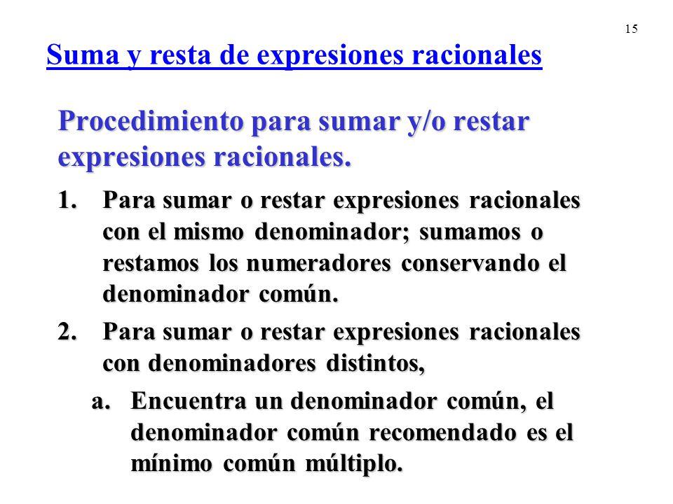 Procedimiento para sumar y/o restar expresiones racionales.