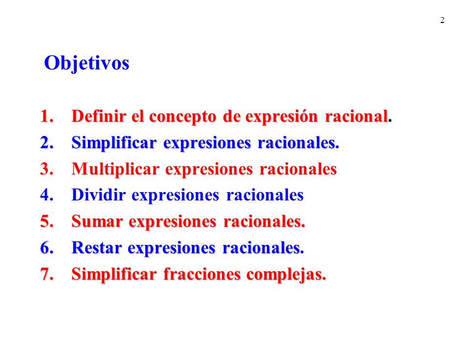 Objetivos Definir el concepto de expresión racional.