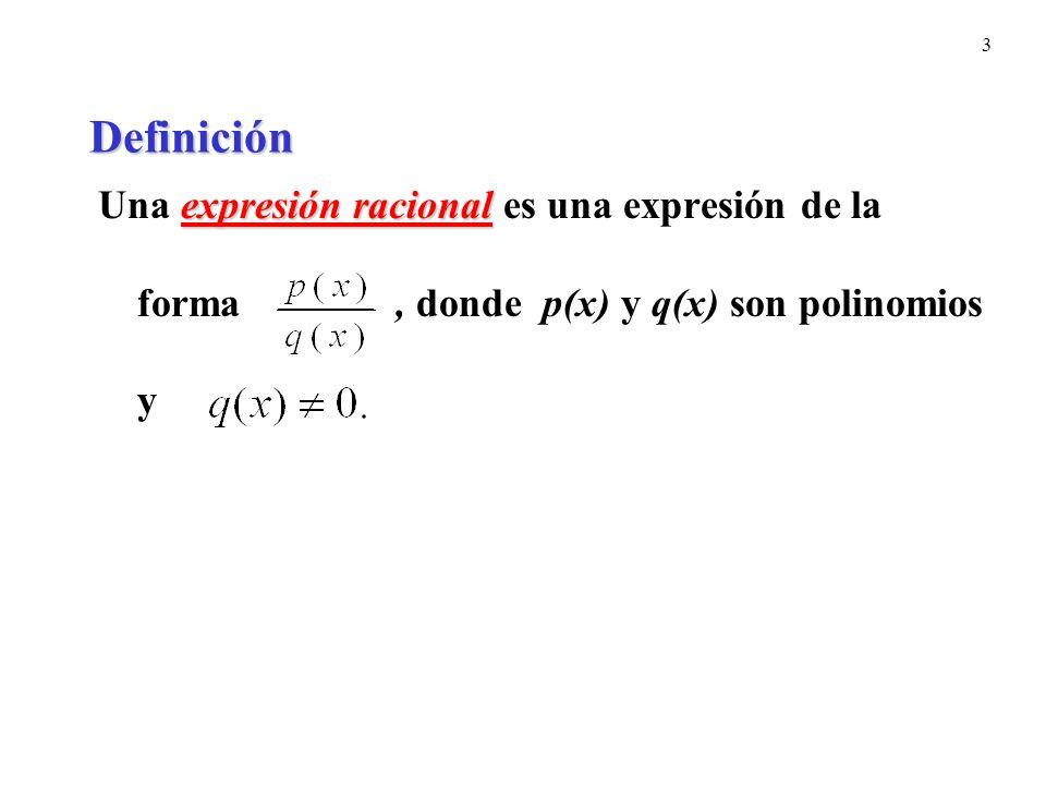 Definición Una expresión racional es una expresión de la forma , donde p(x) y q(x) son polinomios y.