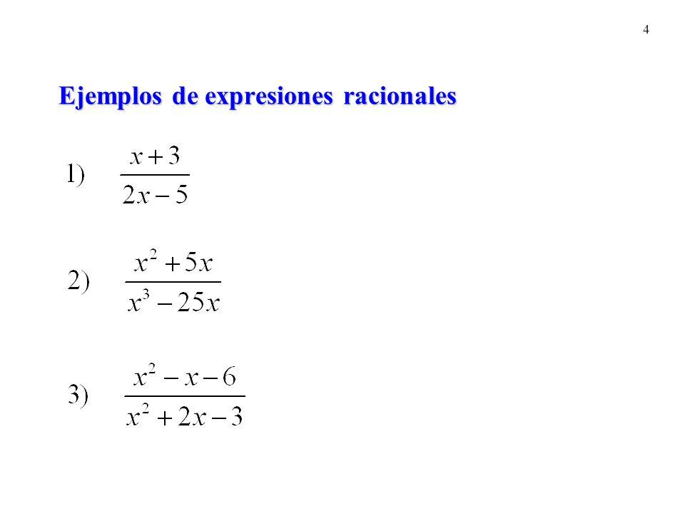Ejemplos de expresiones racionales