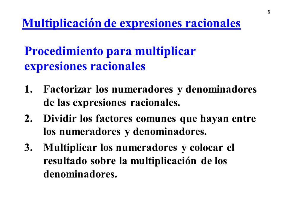 Procedimiento para multiplicar expresiones racionales