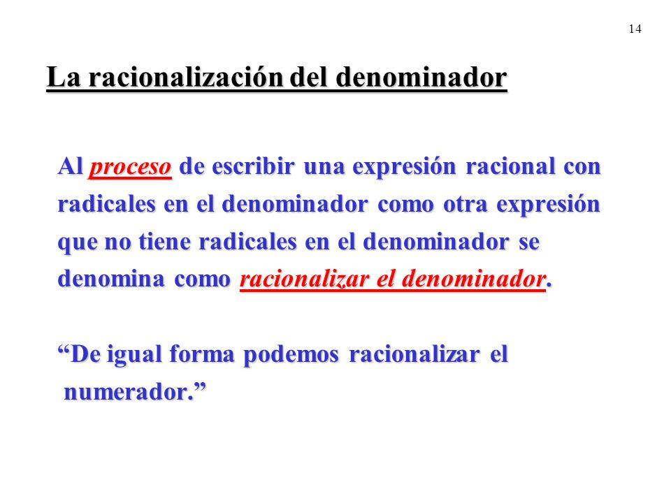 La racionalización del denominador