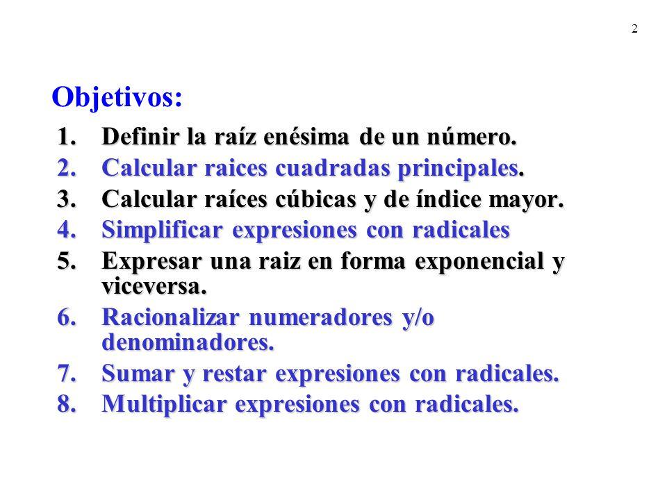 Objetivos: Definir la raíz enésima de un número.