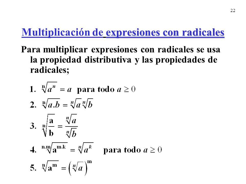 Multiplicación de expresiones con radicales