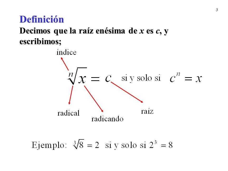 Definición Decimos que la raíz enésima de x es c, y escribimos;