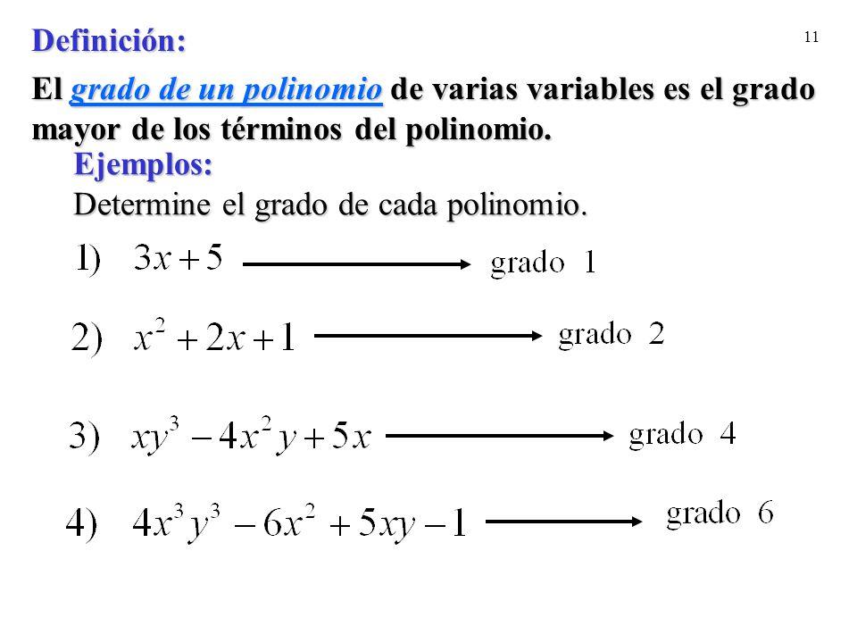 Ejemplos: Determine el grado de cada polinomio.