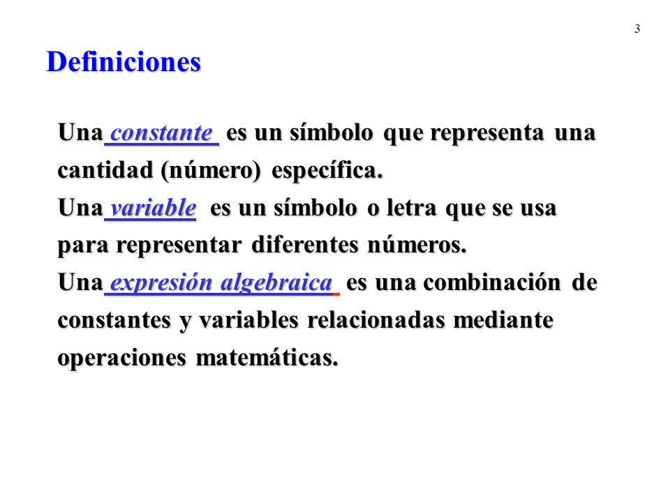 Definiciones Una constante es un símbolo que representa una
