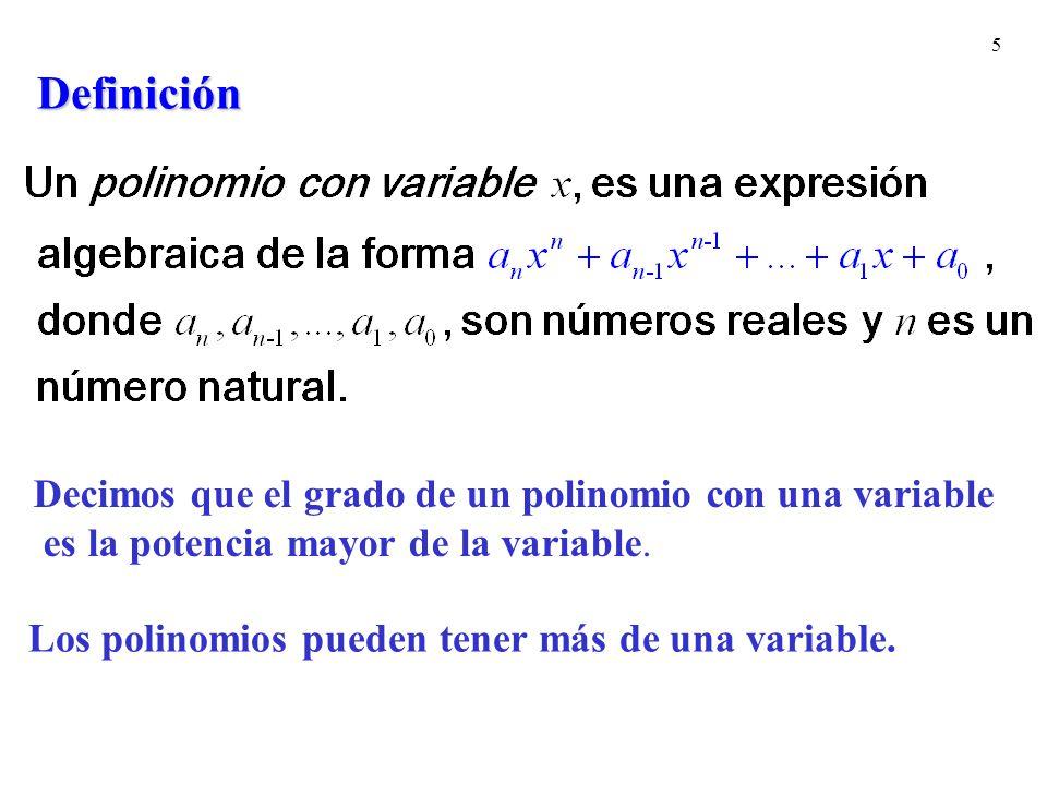 Definición Decimos que el grado de un polinomio con una variable