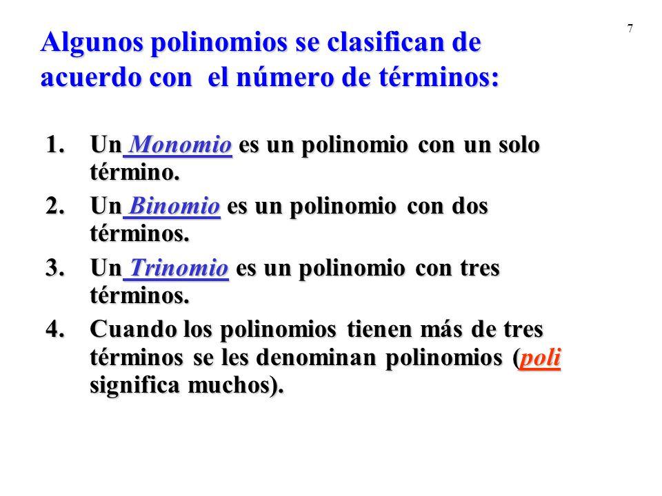 Algunos polinomios se clasifican de acuerdo con el número de términos: