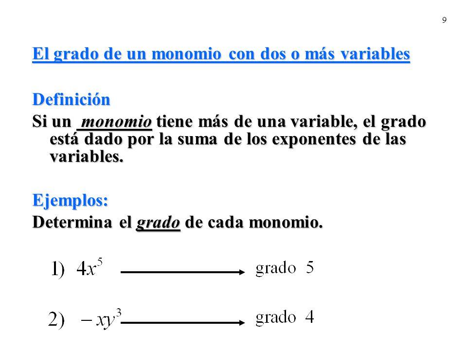 El grado de un monomio con dos o más variables