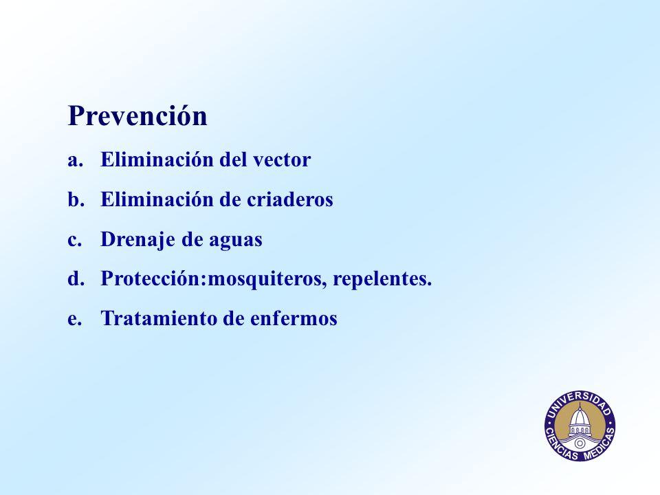 Prevención Eliminación del vector Eliminación de criaderos