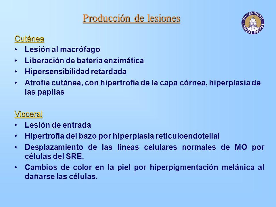 Producción de lesiones
