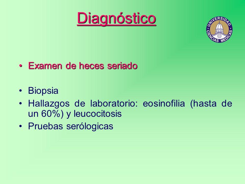 Diagnóstico Examen de heces seriado Biopsia