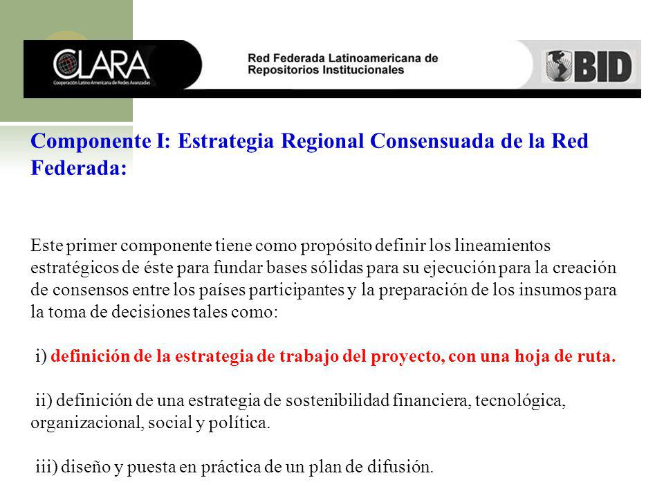 Componente I: Estrategia Regional Consensuada de la Red Federada: