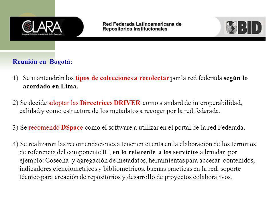Reunión en Bogotá: Se mantendrán los tipos de colecciones a recolectar por la red federada según lo acordado en Lima.