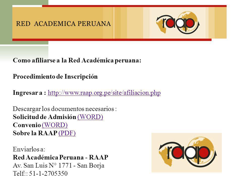 Como afiliarse a la Red Académica peruana: