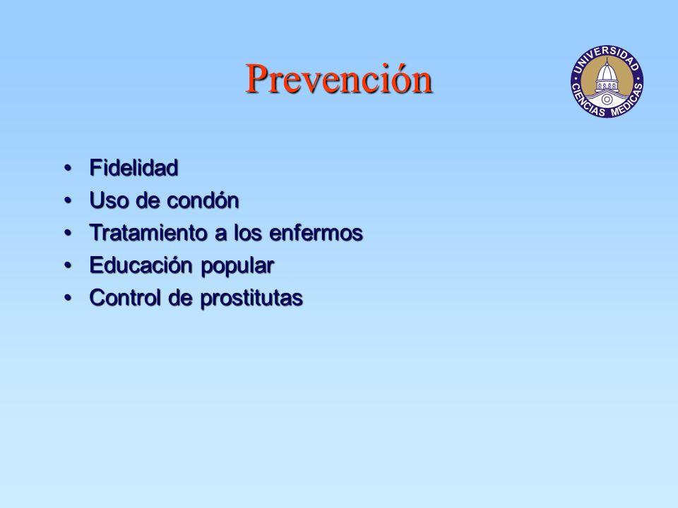 Prevención Fidelidad Uso de condón Tratamiento a los enfermos