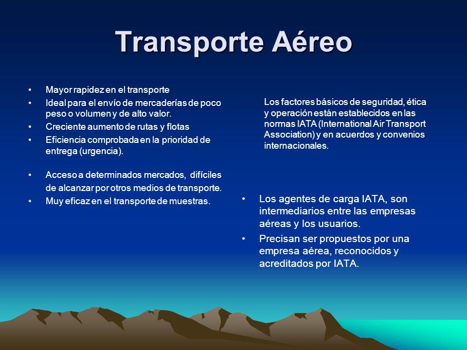 Transporte Aéreo Mayor rapidez en el transporte. Ideal para el envío de mercaderías de poco peso o volumen y de alto valor.