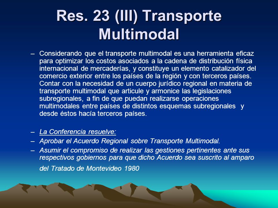 Res. 23 (III) Transporte Multimodal