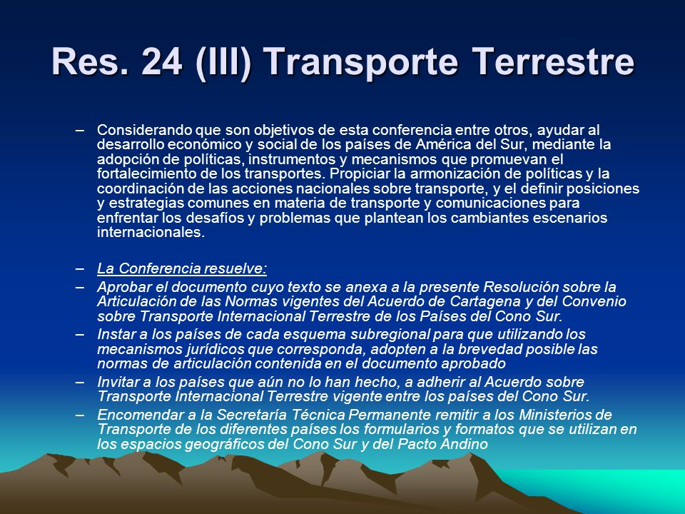 Res. 24 (III) Transporte Terrestre