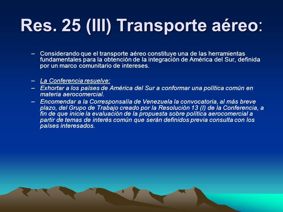 Res. 25 (III) Transporte aéreo: