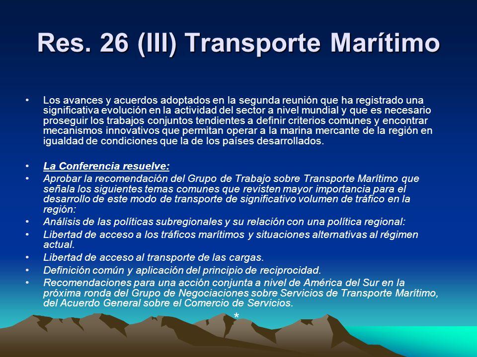 Res. 26 (III) Transporte Marítimo