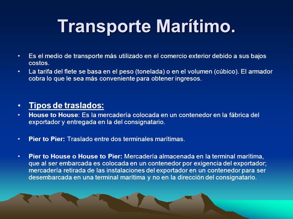Transporte Marítimo. Tipos de traslados: